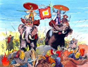 The Trung Sisters, national goddesses of ancient Vietnam, atop their war elephants