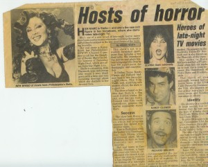 Randy Clower and Richard Malmos of The Texas 27 Film Vault (both lower right) featured in a Movie Host article with Stella from Saturday Night Dead and Elvira.