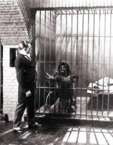 Dr Lamb with one of his caged