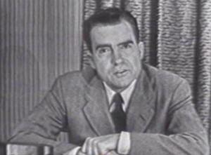 Nixon delivering his infamous Checkers Speech.