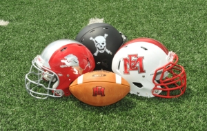 ALL THREE OF EAST MISSISSIPPI COLLEGE'S HELMETS