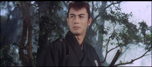 Raizo Ichikawa as the red-haired Samurai Kyoshiro Nemuri, the Son of the Black Mass.