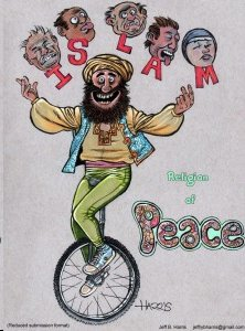 Muhammad juggling the heads of the victims of Islamic beheadings.