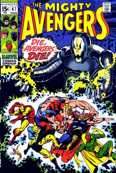 An August 1969 Avengers cover featuring one of the team's earliest battles with Ultron.