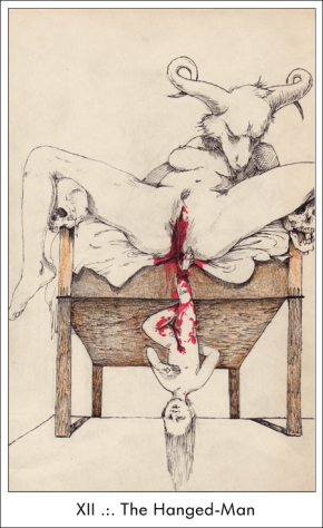 Since many people see parallels between The Tormented Man and The Hanged Man of the Tarot I'm presenting this look at my favorite Tarot representation of The Hanged Man.