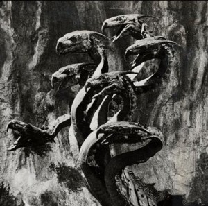 Film, 'Jason And the Argonauts', (1963) Todd Armstrong as Jason fighting the seven-headed Hydra.