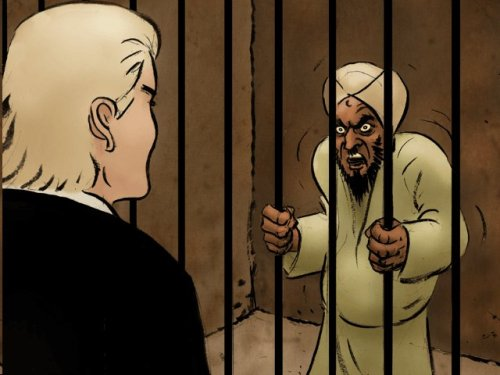 Bosch Fawstin art Geert Wilders and jailed Muhammad