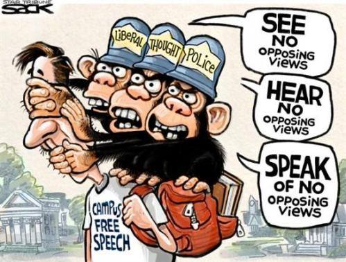 political cartoon monkey see no free expression