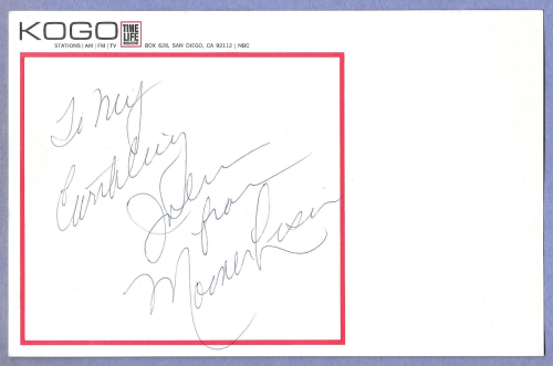 Moona Lisa autograph for John