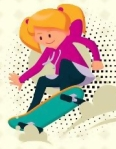 Female skate boarder