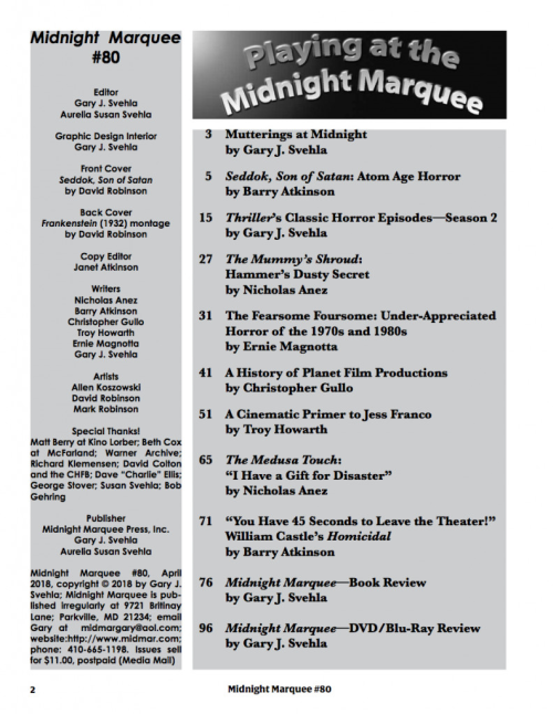 Midnight Marquee #80 table of contents