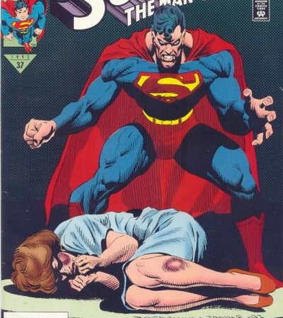 Superman beating woman