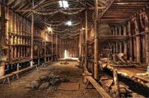 Iroquois longhouse interior