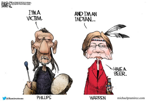 Elizabeth Warren and Nathan Phillips