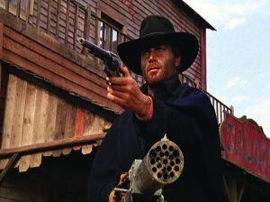 Django and gatling gun and pistol