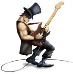 Mascot and guitar